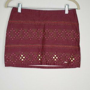 Hollister Juniors Maroon and gold Mini Skirt
